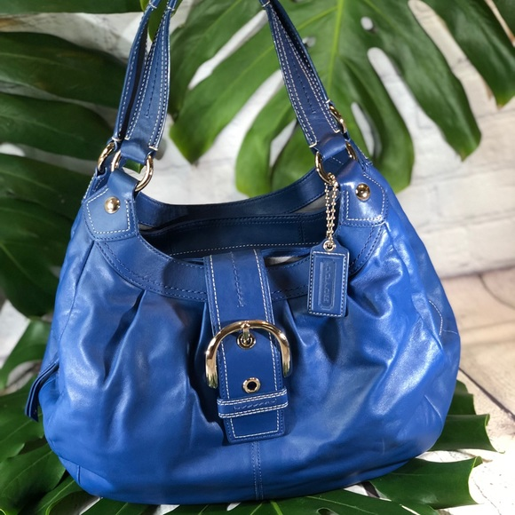 Coach Handbags - SOLD!Authentic Coach Blue Leather Purse